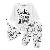 BOBORA Newborn Baby 3PCs Clothing Set Long Sleeve Letter Prints Romper + Deer Trouser + Hat