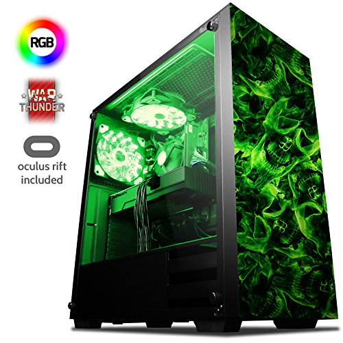 VIBOX Killstreak VGR380-225 VR Gaming PC mit Oculus Rift, Spiel Bundle (3,7GHz AMD Ryzen Quad-Core Prozessor, Nvidia GeForce GTX 1080 Grafikkarte, 8Go DDR4 RAM, 240GB SSD, 1TB HDD, Ohne OS)