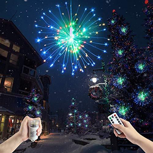 Feux d'artifice 120 LED Lustre Guirlande Lumineuse Pile avec Télécommande, Blanc Fil de Cuivre Eclairage Multicolore Decoration Salon Chambre Restaurant Mariage Saint Valentin Noël