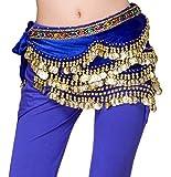 Dancina Cintura in Velluto Sciarpa per Danza del Ventre Orientale 310 Monete d'Oro Blu