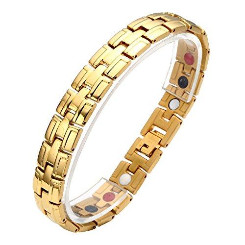 Zysta Edelstahl Schmuck Herren Magnetarmband Edelstahl 4 in 1 Magnettherapie Armband Magnetisches Armreif (Gold)