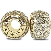 The Royal Collection - I Love You Always - Charm in robusto argento Sterling 925 18k placcato oro bianco con zirconia cubica. Compatibili con i braccialetti Pandora o simili da 4mm