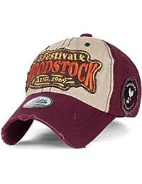 ililily WOODSTOCK August 1969 klassischer Stil Flicken Trucker Cap Hut Baumwolle Baseball Cap