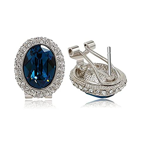 Kemstone Vintage Blue Cubic Zirconia Silver Plated Stud Earrings Women Party Jewelry