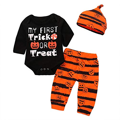 Aediea Baby Boys Girls Clothing Sets 3PCS Cute Pumpkin Print Halloween Letter Romper Elastic Pants Hat Jumpsuit Infants Long Sleeve Outfits (6-12M)