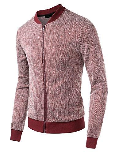 HEMOON Herren Strickjacke Übergangsjacke Cardigan Streifenstrick Basic Rot
