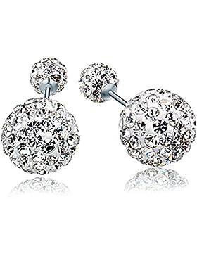 Unendlich U 925 Sterling Silber 6-10mm Doppel Österreichischer Kristallkugeln Ohrstecker Front-Back-Ohrringe für...