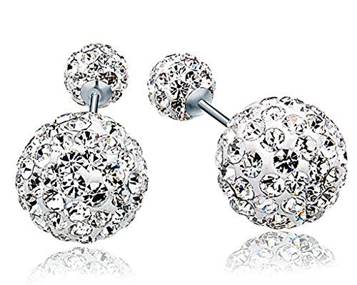 Unendlich U 925 Sterling Silber 6-10mm Doppel Österreichischer Kristallkugeln Ohrstecker Front-Back-Ohrringe für Damen/Mädchen