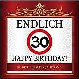 Aufkleber zum Geburtstag mit Text und Zahl - Endlich 30