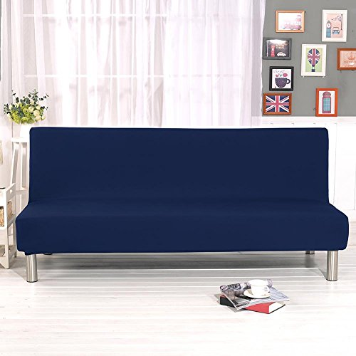 Sofa Cover Armless Farbe All Inclusive Klapp Stretch Sofa Bett Sofa Cover Protector Bettüberwurf ohne Armlehnen, blau (Blau Bettüberwurf)