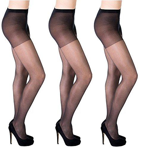 10e03266cc Aurellie women sheer Lycra tights pack of 3, Black, 3/Medium