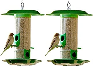 Amijivdaya Bird Feeder with Hut (Medium, Green, 2-Pieces)