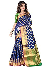 Hinayat Fashion Women's Silk Saree With Blouse Piece (Nht01Sri400, Blue, Free Size)