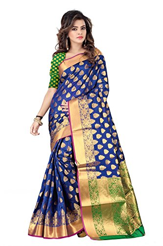 Hinayat Fashion Silk Saree (2Nht01Sri400_Blue_Free Size)