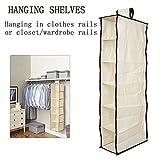 Henweit Hanging Shelves 6 Tier Wardrobe Closet Organiser Hangers Beige for Baby Sweater Socks Shoes Clothes Storage Bedroom Nursery Room