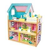 Puppenhaus 'Residenz' aus Holz verfügt über 3 Etagen, mit Fahrstuhl und Balkon, inkl. 23 Puppenmöbel als Zubehör