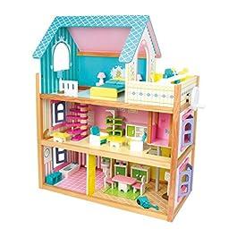 1557 Casa delle bambole Residence small foot in legno, con 3 piani, ascensore e balcone, incl. 23 mo