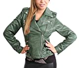 A1 FASHION GOODS Damen Biker-Stil Lederjacke Mädchen Trendy Ausgestattet Mantel In Einer Reihe Von Farben - Ruby (Grün, XXL - EU 44)