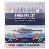 Stationery Island Brush Pen Set – 12 Bunte Farben + 1 Innovativer Aqua Pinsel - Vermischbare Pinselstifte Mit Flexiblen, Echten Bürste-Spitzen