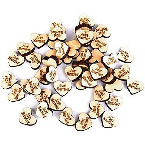 PIXNOR sólo casado de madera corazones álbumes de recortes adornos manualidades de madera confeti–50piezas