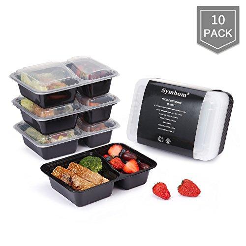 Symbom 3 Fach Lunch Box Bento Meal Prep Food Container wiederverwendbar - Mikrowelle, Spülmaschine, Gefrierschrank Safe Mahlzeit Prep Essen box Sets Essensbehälter - FDA/LFGB/BPA Free (10-pack 880ml) (Bento-sauce Container)