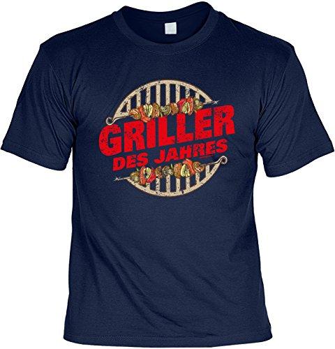 T-Shirt Griller des Jahres Grill T-Shirt Geschenkidee Grillen Grill Party Geschenk zur Grillsaison Navyblau