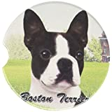 E&S Pets Absoris Stoneware Auto-Cup Holder Coaster, Boston Terrier