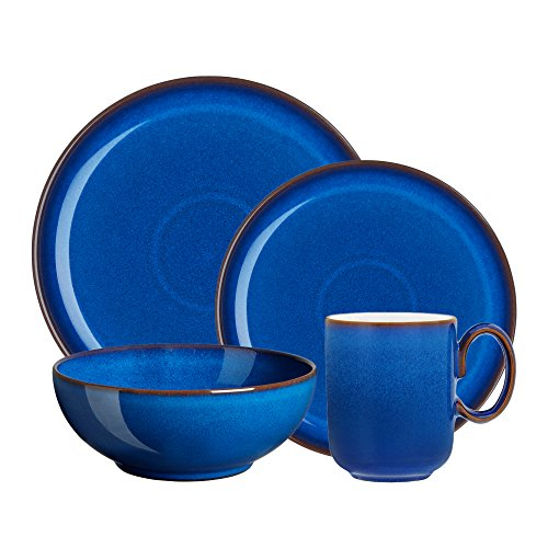 Denby Imperial Blue Coupe Speiseteller 8-Pound 4 PC Set Coupe Cereal Bowl