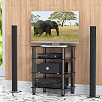 FITUEYES Glass TV Stand HIFI Rack with Height Adjustable Feet 4 Tiers Audio Video Shelves Media Component Cabinet Black AS406001GB