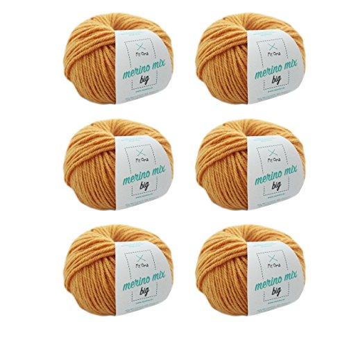 MyOma gelbe Wolle zum Stricken * Merinowolle Honig (Fb 3295) + GRATIS Label * 6 Knäuel gelbe Wolle - Dicke Wolle zum Stricken - 50g/75m - Nadelstärke 6-7mm - weiche Wolle - Merino Wolle -