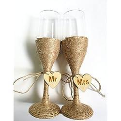 Boda rústica - copas de champán Mr & Mrs