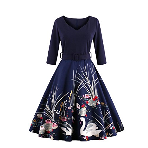 babyonline-dress-damen-60er-1-2-arm-verdickte-retro-swing-kleid-mit-schwan-bulmenmuster-knielang-nav