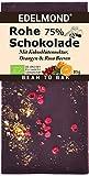 Edelmond Bio 75% rohe Schokolade mit Rosa Beere, Orange und Kokosblütennektar, sonst ohne Zucker. Als Geschenk: Vegan, Lactosefrei und Fair-Trade.