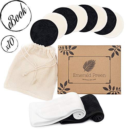 10 tampons à démaquiller, Démaquillants lavables, ø 8 cm, réutilisables à partir de bambou 100% durable incl. washbag, 2x serre-tête (blanc/noir) et eBook (Eng.) sur les cosmétiques naturels.