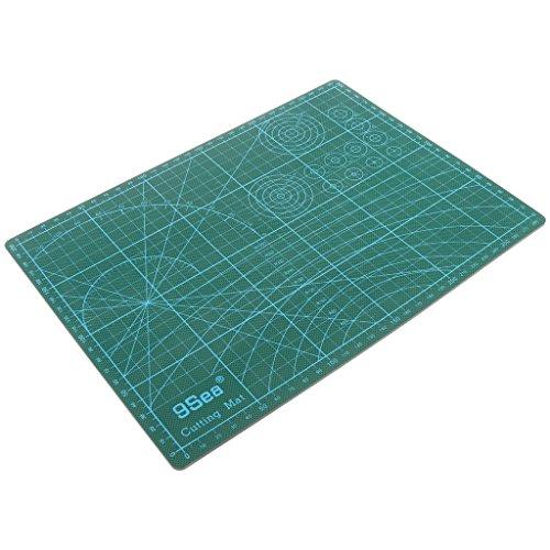 MagiDeal Blau PVC Doppelseitige Lineal Quilt Patchwork Schneidematte Schneideunterlage Quilten Werkzeuge