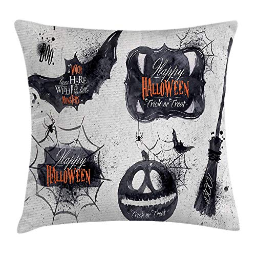 Vintage Halloween Throw Pillow Cushion Cover, Halloween Symbols Happy Holiday Witch Lives Here Broomstick Spider Web, Decorative Square Accent Pillow Case, 18 X 18 inches, Black White