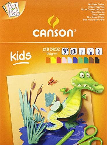 Canson 3148950015327 cartolina disegno, confezione 10 fogli, 24 x 32, colori assortiti
