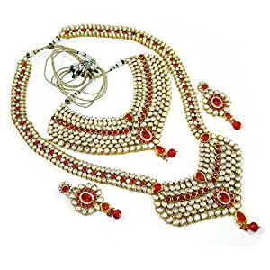 8 Pc Bridal Necklace Red Kundan Set Traditional Indian Bollywood Dulhan Jewellery