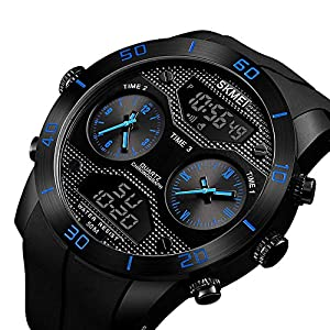 Relojes Deportivos para Hombre,Reloj Deportivo Digital para Hombre, Reloj Deportivo LED Relojes Deportivos para Exteriores Relojes con Reloj Grande con cronógrafo a Prueba de Tiempo 3 Veces, (Blue)