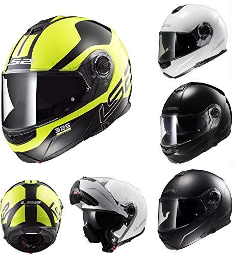 Caschi moto ls2 ff325 strobe casco modulare moto da uomo flip up touring casco sportivi urban racing (zone-hiviz-giallo,l)