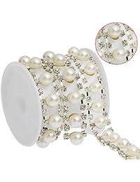2Yards doble de perlas y cadena ropa decorativas de decoración con apliques de cristal de patrones