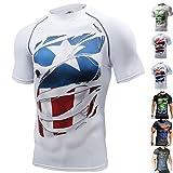 Khroom Hochwertiges Herren Funktionsshirt | Perfekt für Fitness & Gym - Kompressionsshirt im stylischen Helden Design (Captain America weiß, S)