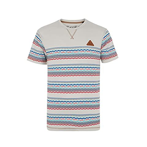Mens Rock & Revival Short Sleeve Crew Neck T-Shirt With Aztec Print Stripe. Style - Ortiz (R707138C) Colour - Antique White. Size - X large