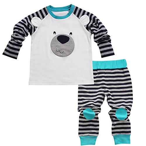 Aikobaby Newborn Baby Boy Bear stampato t-shirt top + pantaloni a righe Outfits set bambini vestiti