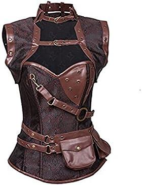 Lover-Beauty Corset Mujer Vintage Gótico Corsé Shapewear Overbust Steampunk Top Corset Brocado Cadenas de Metal...