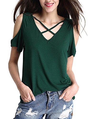 Abollria Damen T-Shirt Kurzarm Sommer Tops V-Ausschnitt mit gekreuzten Kragen Schulter Cutouts Stretch Oberteile T-Shirt