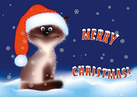 Lustige Katzen-Weihnachtskarte