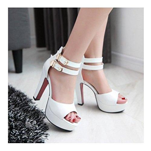 Sandales femmes à talon haute escarpins femmes fermeture par zip sur talon Blanc
