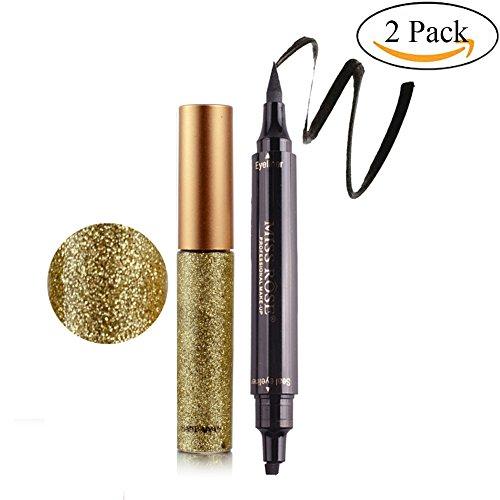 Weisy Eyeliner Glitzer & Schwarz Eyeliner Stempel Eyeliner Seal Wasserdicht Schimmer Pigment Silber Gold Metallic Liquid Glitters Eyeliner 10 Farben