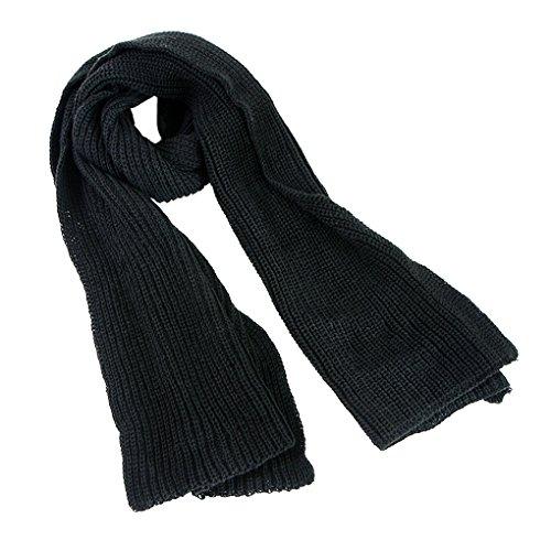 Unisex Strickschal Lang Grobstrick Schal Warm Winterschal einfarbiges Halstuch Oversized Schlauchschal für Herbst und Winter, Schwarz, Einheitsgröße